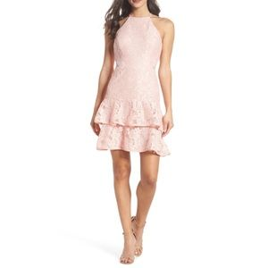 XSCAPE Ruffle Tier Lace Party Dress- 8